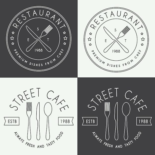 Ensemble de logo linéaire de restaurant vintage Vecteur Premium