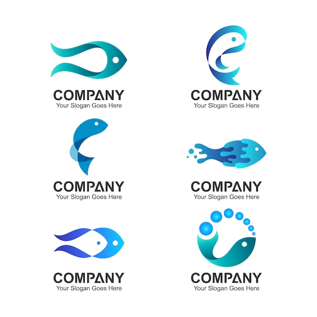 Ensemble de logo logo poisson Vecteur Premium