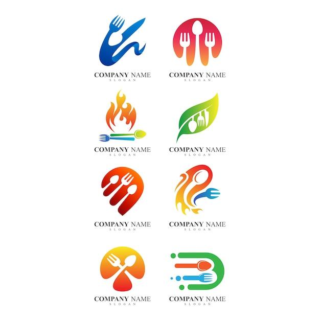 Ensemble de logo et logo restaurant Vecteur Premium