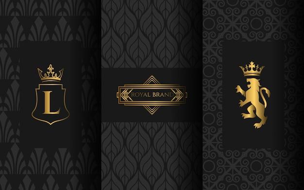 Ensemble de logo de luxe Vecteur Premium