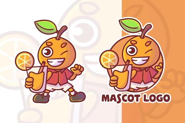 Ensemble De Logo De Mascotte De Jus D'orange Mignon Avec Apparence Facultative Vecteur Premium