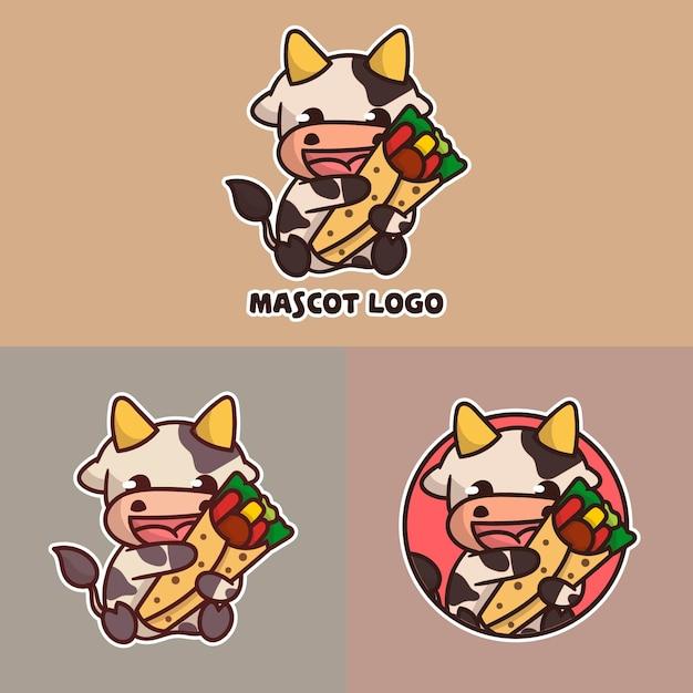 Ensemble De Logo De Mascotte De Kebab De Vache Mignon Avec Apparence Facultative. Vecteur Premium