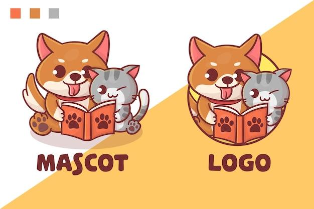 Ensemble De Logo De Mascotte De Livre De Lecture De Chat Et De Chien Mignon Avec Apparence Facultative. Vecteur Premium