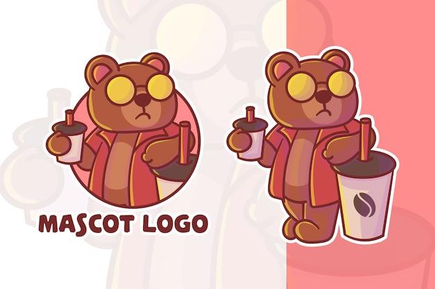 Ensemble De Logo Mascotte Ours Café Mignon Avec Apparence Facultative Vecteur Premium