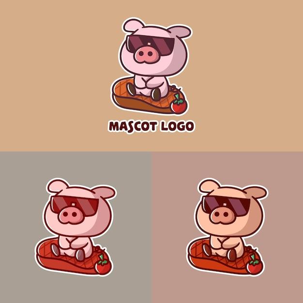 Ensemble De Logo De Mascotte De Porc Steak Mignon Avec Apparence Facultative. Vecteur Premium