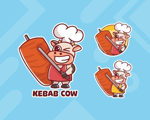Ensemble De Logo De Mascotte De Vache Chef Kebab Mignon Avec Apparence Facultative. Vecteur Premium