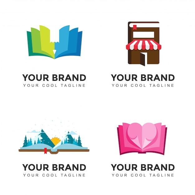 Ensemble De Logo Moderne Livre Amoureux Vecteur Premium