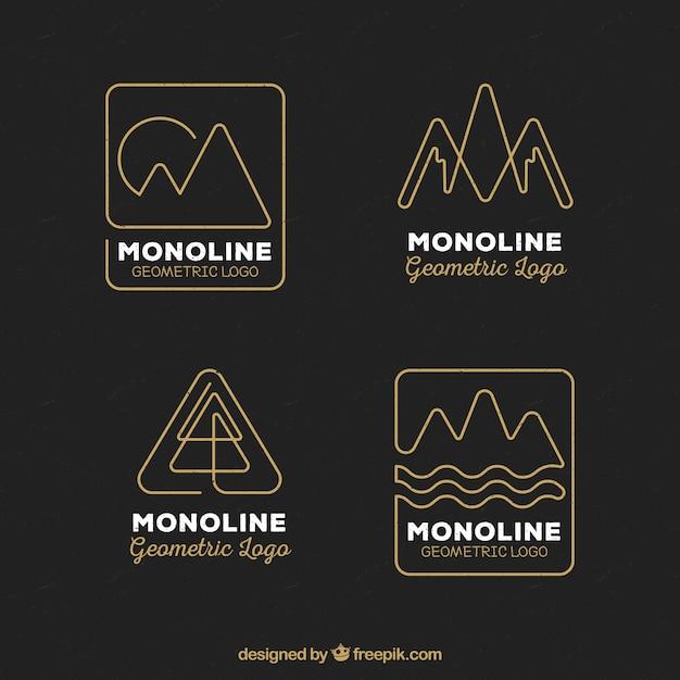 Ensemble De Logo Monoline Noir Et Doré Vecteur gratuit