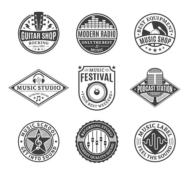 Ensemble De Logo De Musique Vectorielle. Vecteur Premium