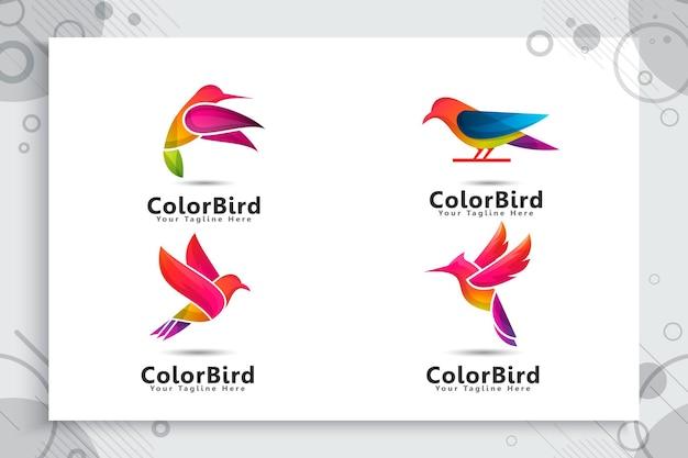 Ensemble De Logo Oiseau Coloré Vecteur Premium