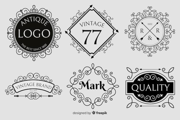 Ensemble de logo ornemental vintage Vecteur gratuit