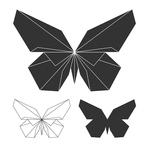 Ensemble Logo Papillons. Papillon De Ligne Et Silhouette Vecteur Vecteur Premium
