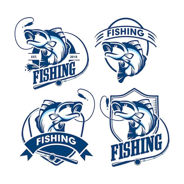Ensemble de logo de pêche Vecteur Premium