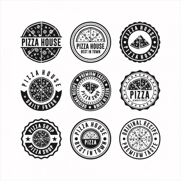 Ensemble De Logo De Pizza Vecteur Premium