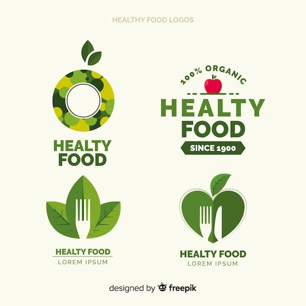 Ensemble de logo plat des aliments sains Vecteur gratuit