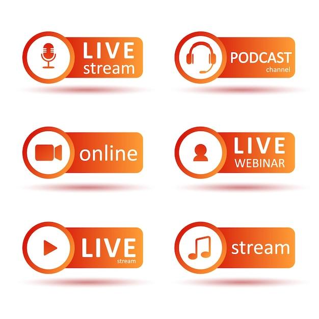 Ensemble De Logo Podcast Ou Radio. Icônes De Dégradé Et Boutons De Diffusion. Vecteur Premium