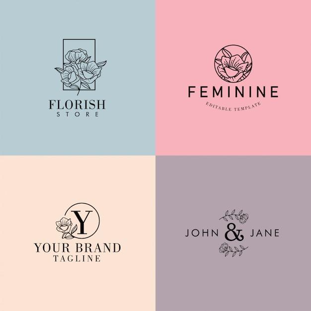 Ensemble De Logo Premade Minimaliste Féminin, Floral, éditable Vecteur Premium