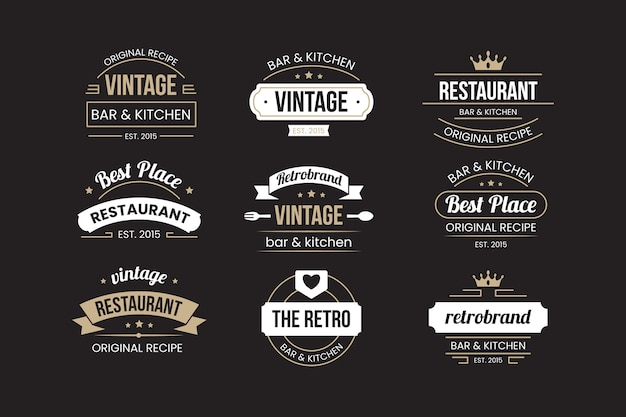 Ensemble de logo de restaurant rétro Vecteur gratuit