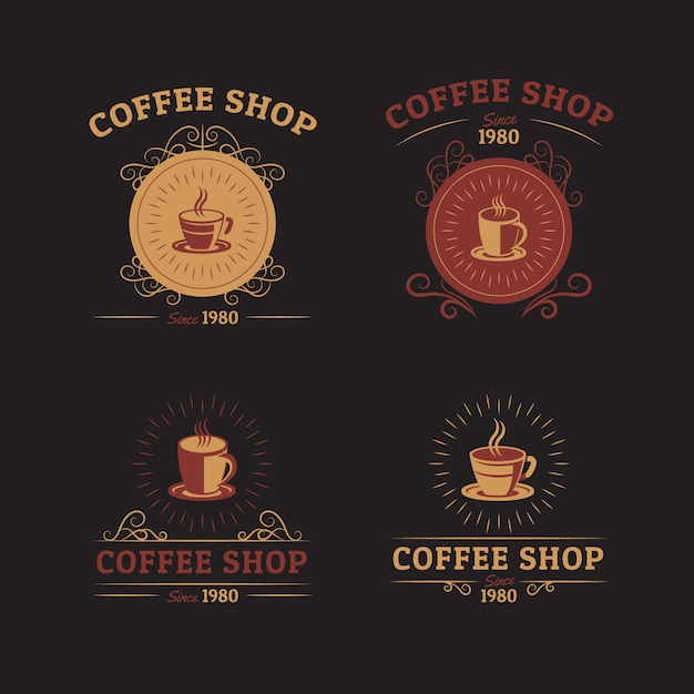 Ensemble de logo rétro café Vecteur gratuit