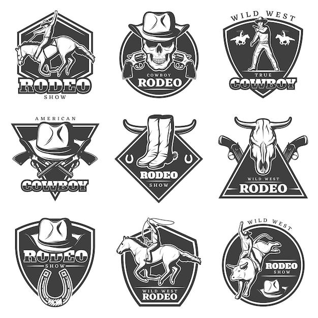 Ensemble De Logo De Rodéo Monochrome Vecteur gratuit