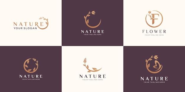 Ensemble De Logo Rose Fleur Abstraite Vecteur Premium