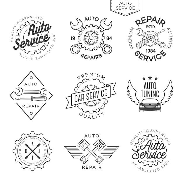Ensemble de logo de service, de réparation et de réglage automatique isolé Vecteur Premium