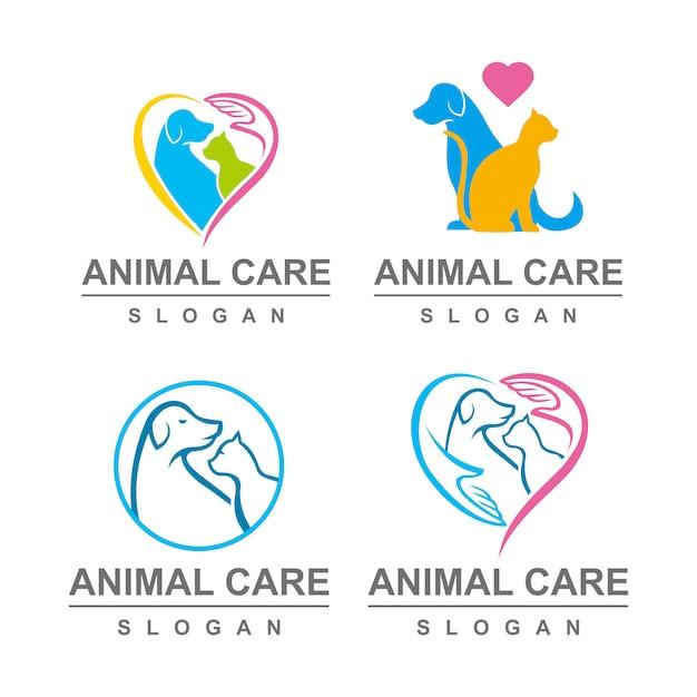 Ensemble de logo de soins pour animaux de compagnie Vecteur Premium