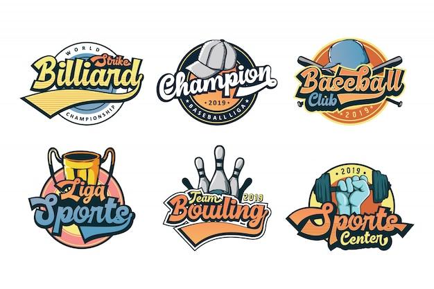 Ensemble De Logo De Sport Vintage Colorfull Vecteur Premium