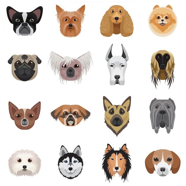 Ensemble de logo de têtes de chien. Vecteur Premium