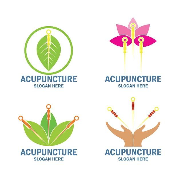 Ensemble de logo de thérapie d'acupuncture Vecteur Premium