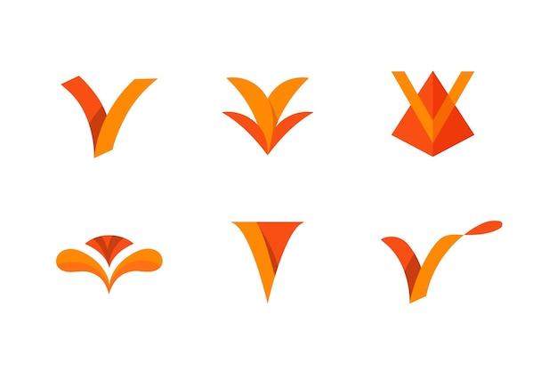 Ensemble De Logo V Vecteur Premium