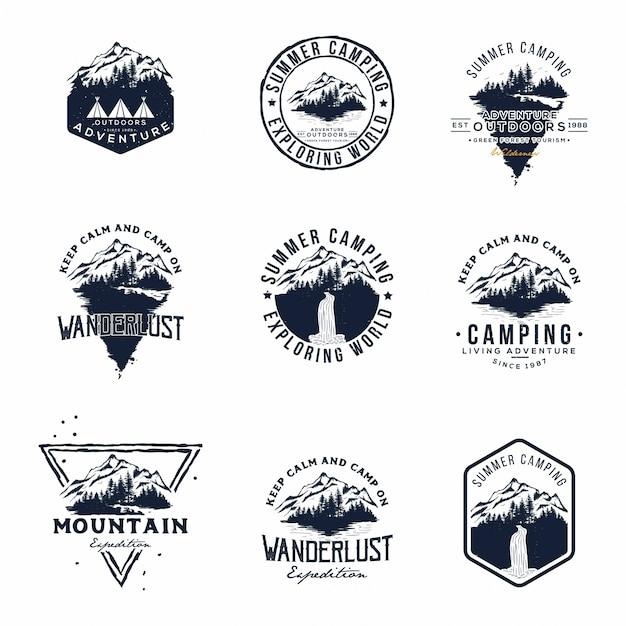 Ensemble de logo vector aventures de montagne et de plein air Vecteur Premium