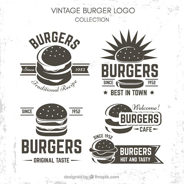 Ensemble De Logo Vintage Burger Vecteur Premium
