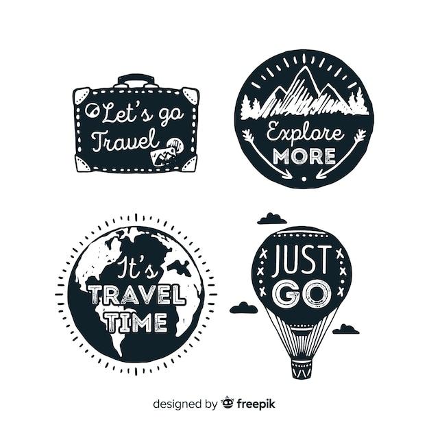 Ensemble de logo de voyage plat vintage Vecteur gratuit