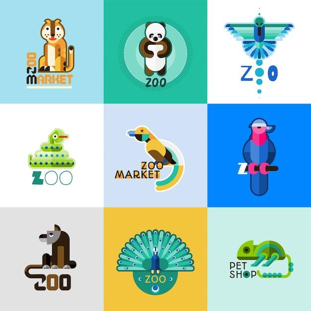 Ensemble de logo zoo Vecteur gratuit