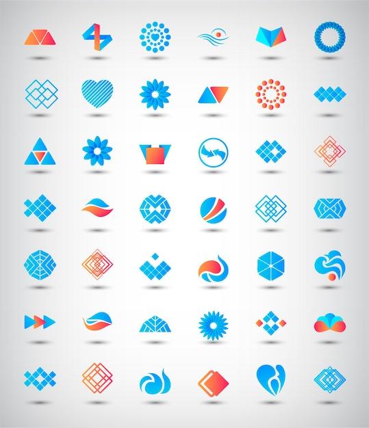 Ensemble De Logos Abstraits, Icônes. Collection De Signes D'identité Vecteur Premium