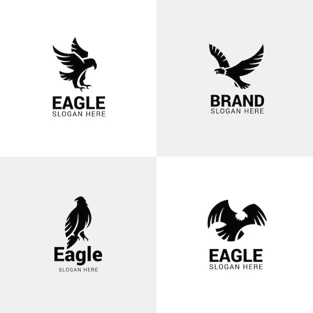 Ensemble de logos d'aigle Vecteur Premium