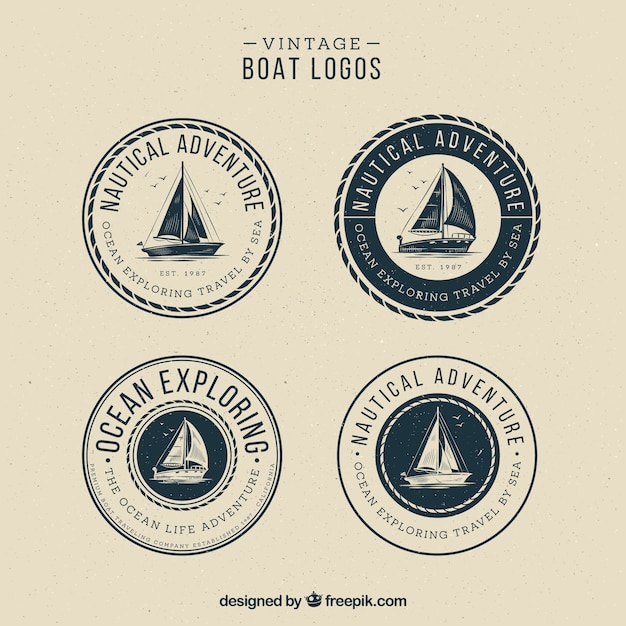 Ensemble de logos de bateau vintage Vecteur gratuit