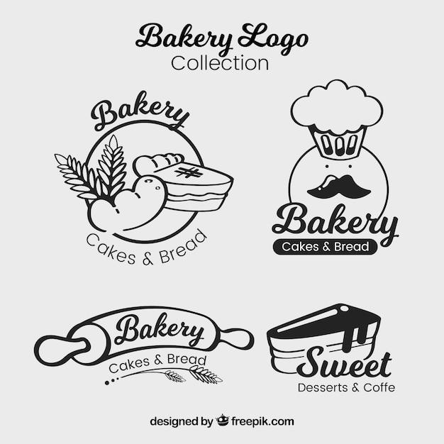 Ensemble De Logos De Boulangerie Dans Le Style Plat Vecteur gratuit