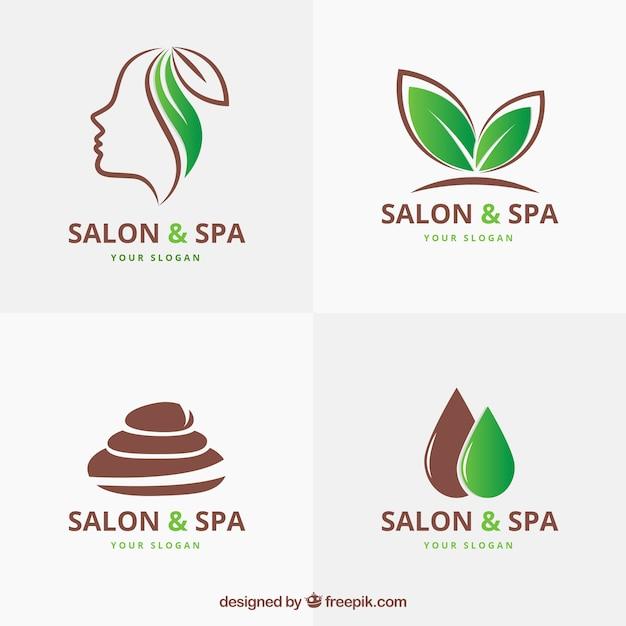 Ensemble De Logos De Centre De Spa Dans Un Style Plat Vecteur Premium