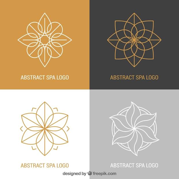 Ensemble De Logos De Centre De Spa Dans Un Style Plat Vecteur gratuit