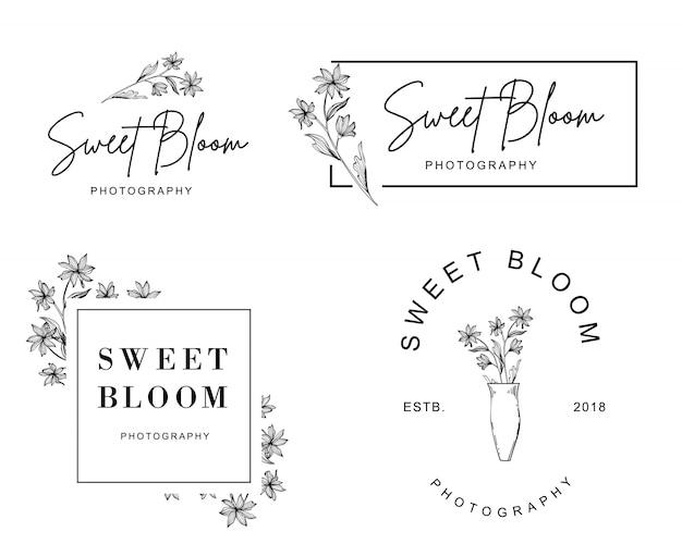 Un ensemble de logos féminins d'une petite fleur dessinés à la main Vecteur Premium