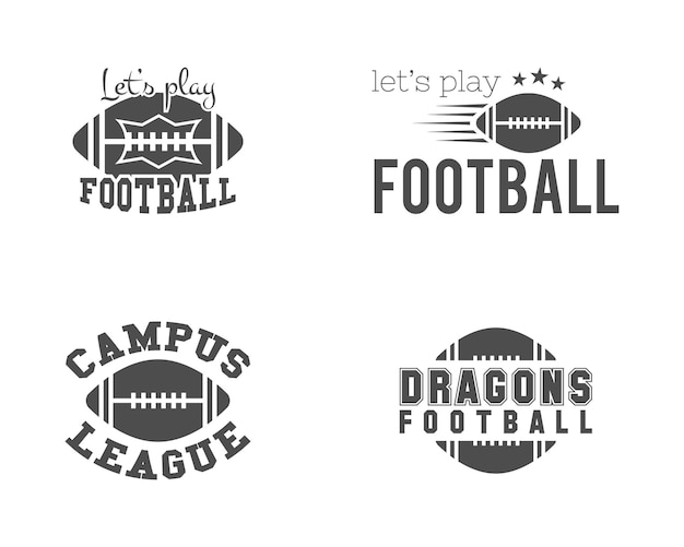 Ensemble De Logos De Football Américain. Emblèmes De Vecteur Stock Vecteur Premium