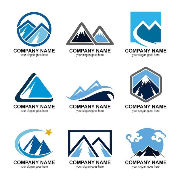 Ensemble de logos de montagne Vecteur Premium