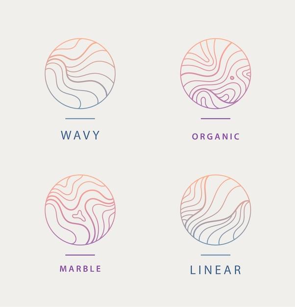 Ensemble De Logos Organiques Minimaux Ondulés Abstraits Vecteur Premium
