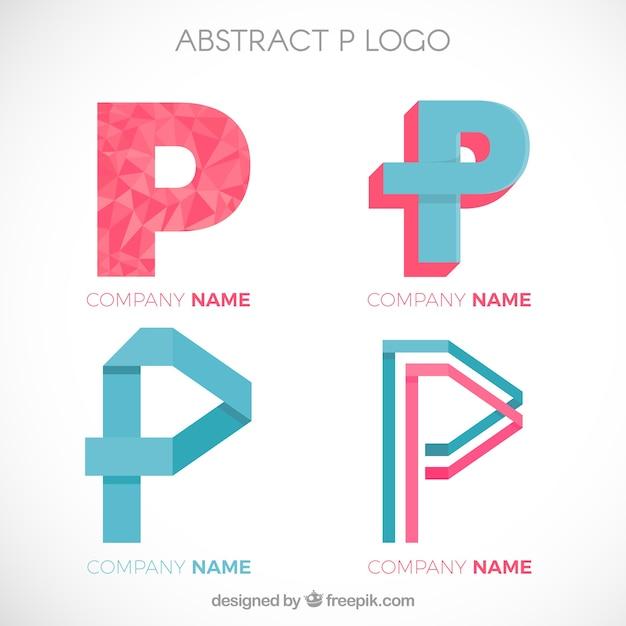 Ensemble de logos p p Vecteur gratuit