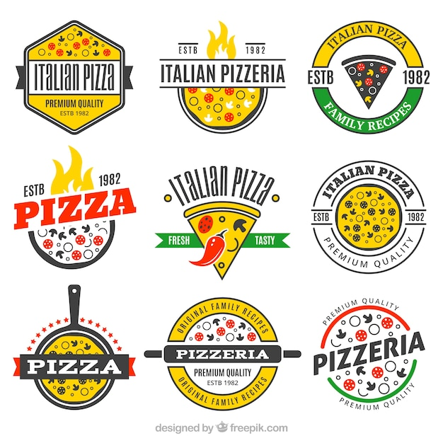 Ensemble De Logos De Pizza Vecteur Premium