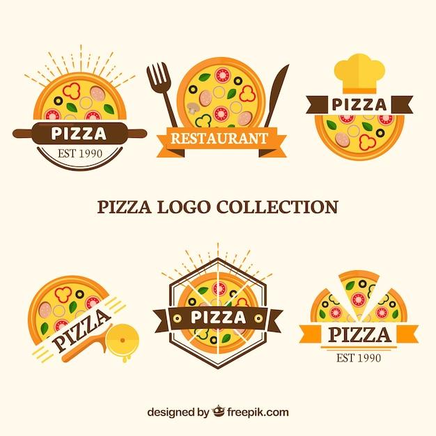 Ensemble De Logos Pour Pizzas Vecteur Premium