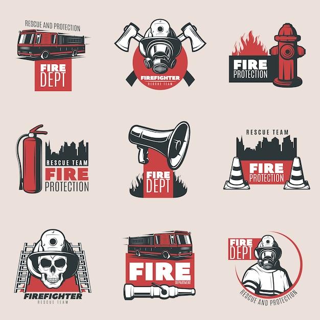 Ensemble De Logos De Protection Incendie Vintage Vecteur gratuit