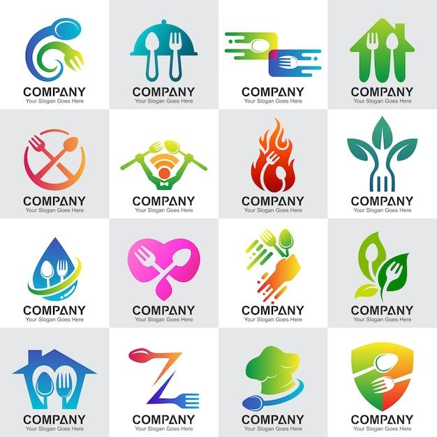 Ensemble de logos de restaurant et de cuisine Vecteur Premium